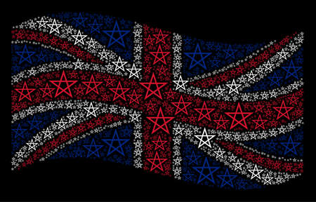 Waving United Kingdom state flag on a black background. Vector star pentagram pictograms are arranged into geometric British flag illustration.