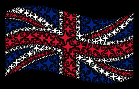 Waving United Kingdom state flag on a black background. Vector space star pictograms are combined into conceptual United Kingdom flag collage. Patriotic concept made of space star elements.