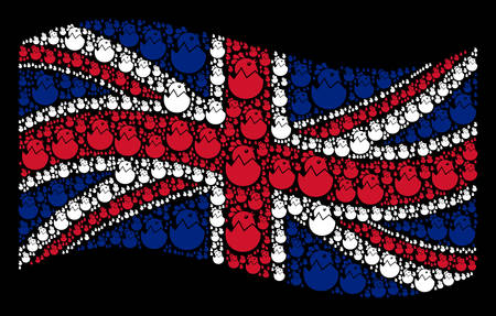 Waving Great Britain state flag on a black background. Vector hatch chick pictograms are placed into conceptual UK flag abstraction. Patriotic collage done of hatch chick design elements.