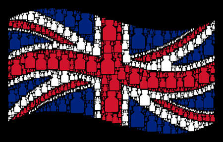 Waving UK official flag on a black background. Vector liquid bottle pictograms are united into mosaic English flag composition. Patriotic concept composed of liquid bottle pictograms.