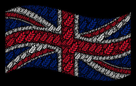 Waving UK official flag on a black background. Vector leaf branch design elements are grouped into conceptual UK flag collage. Patriotic composition done of leaf branch design elements.