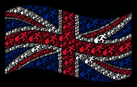 Waving English flag on a black background. Vector fired running man icons are arranged into geometric British flag collage. Patriotic composition composed of fired running man pictograms. Ilustração
