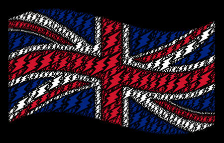 Waving United Kingdom official flag on a black background. Vector electric spark items are formed into geometric UK flag composition. Patriotic collage done of electric spark elements. Illustration