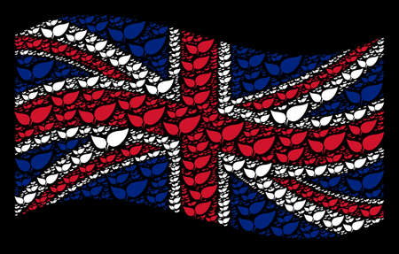 Waving Great Britain official flag on a black background. Vector floral leaves items are grouped into mosaic United Kingdom flag illustration. Patriotic concept done of floral leaves elements.