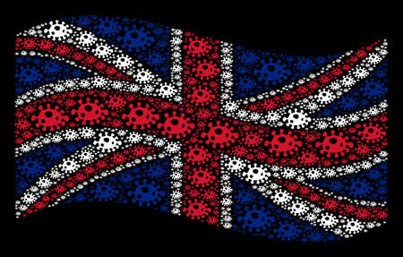 Waving British flag on a black background. Vector infection cell items are scattered into mosaic United Kingdom flag illustration. Patriotic illustration organized of infection cell design elements.