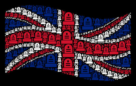 Waving Great Britain flag on a black background. Vector grave elements are placed into conceptual UK flag collage. Patriotic collage done of grave pictograms. 일러스트