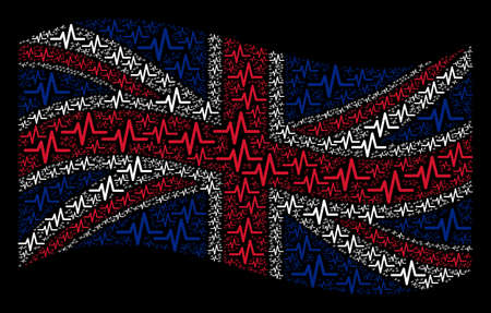 Waving English state flag on a black background. Vector pulse elements are scattered into mosaic British flag composition. Patriotic concept composed of pulse pictograms.