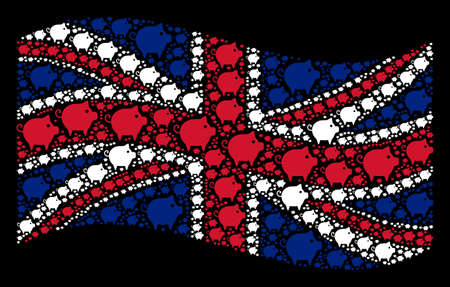 Waving Great Britain official flag on a black background. Vector piggy design elements are grouped into conceptual UK flag illustration. Patriotic illustration constructed of piggy icons.