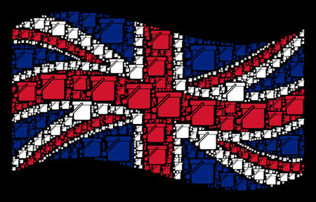 Waving English flag on a black background. Vector bucket items are formed into geometric British flag abstraction. Patriotic illustration composed of bucket design elements.