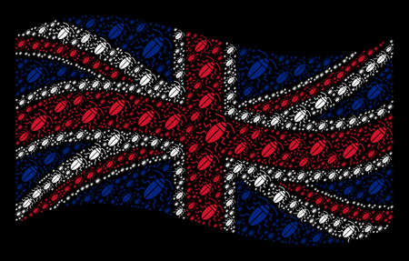 Waving Great Britain flag on a black background. Vector cucaracha elements are formed into conceptual Great Britain flag abstraction. Patriotic illustration organized of cucaracha elements.