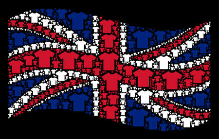 Waving British flag on a black background. Vector T-shirt icons are organized into geometric UK flag collage. Patriotic illustration created of T-shirt design elements. Illustration