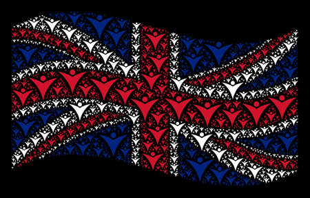 Waving Great Britain flag on a black background. Vector futuristic man elements are formed into geometric Great Britain flag illustration. Patriotic concept done of futuristic man elements.