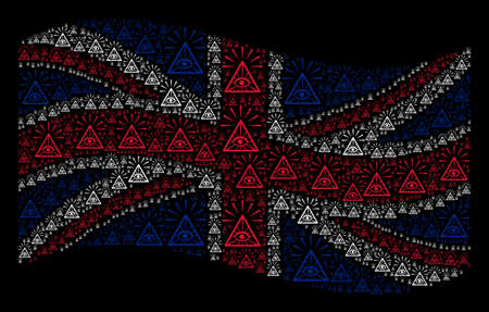 Waving UK flag on a black background. Vector total control eye pyramid pictograms are placed into conceptual United Kingdom flag collage.