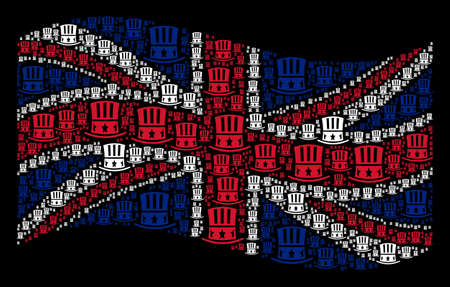 Waving UK state flag on a black background. Vector Uncle Sam hat pictograms are combined into conceptual Great Britain flag composition. Patriotic illustration done of Uncle Sam hat icons.