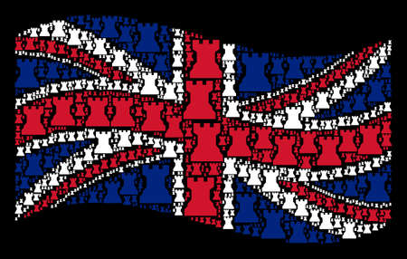 Waving Great Britain flag on a black background. Vector chess tower icons are arranged into geometric Great Britain flag collage. Patriotic composition designed of chess tower design elements.