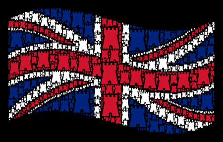 Waving English flag on a black background. Vector bulwark tower design elements are grouped into conceptual Great Britain flag collage. Patriotic illustration composed of bulwark tower pictograms.