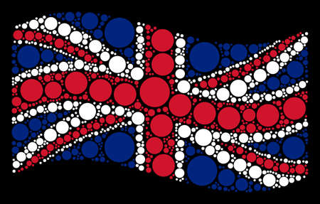 Waving United Kingdom flag on a black background. Vector filled circle elements are arranged into conceptual English flag abstraction. Patriotic collage created of filled circle pictograms. Illustration
