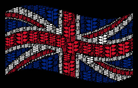 Waving United Kingdom official flag on a black background. Vector flora plant items are grouped into conceptual UK flag illustration. Patriotic collage created of flora plant elements. Çizim