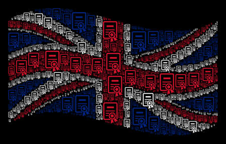 Waving English official flag on a black background. Vector certificate design elements are scattered into conceptual United Kingdom flag collage.