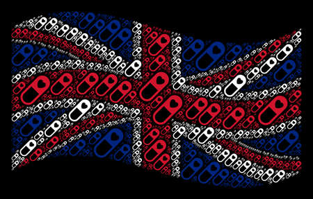 Waving English state flag on a black background. Vector love granule icons are formed into mosaic English flag collage. Patriotic collage made of love granule elements.