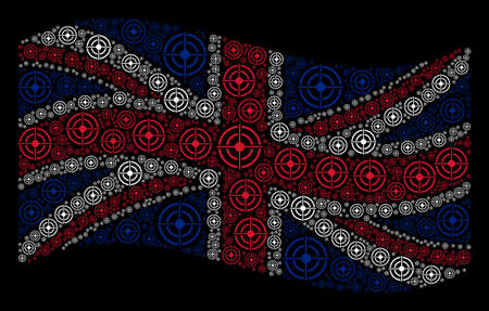 Waving UK flag on a black background. Vector target bullseye design elements are combined into conceptual British flag abstraction. Patriotic collage done of target bullseye pictograms.
