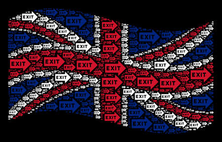 Waving UK official flag on a black background. Vector exit arrow items are scattered into geometric UK flag abstraction. Patriotic illustration organized of exit arrow design elements.