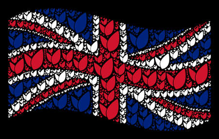 Waving United Kingdom official flag on a black background. Vector floral sprout icons are grouped into geometric United Kingdom flag composition. Patriotic concept done of floral sprout pictograms. Çizim