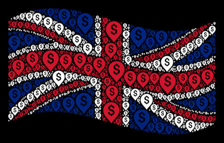 Waving British flag on a black background. Vector banking map marker items are formed into mosaic United Kingdom flag illustration. Patriotic composition done of banking map marker pictograms.