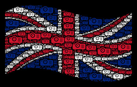 Waving British flag on a black background. Vector projector design elements are scattered into geometric UK flag illustration. Patriotic concept created of projector icons.