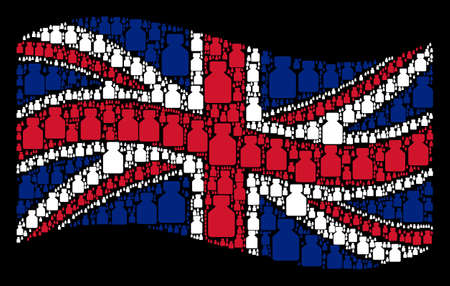 Waving English state flag on a black background. Vector bottle icons are arranged into geometric UK flag illustration. Patriotic concept combined of bottle design elements. Фото со стока - 102869877