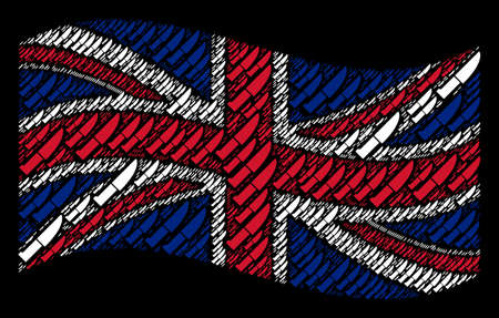 Waving UK official flag on a black background. Vector kitchen knife design elements are united into geometric British flag collage. Patriotic illustration organized of kitchen knife elements. Illustration