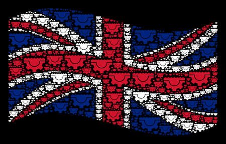Waving British official flag on a black background. Vector water service gear design elements are arranged into mosaic English flag illustration. 일러스트