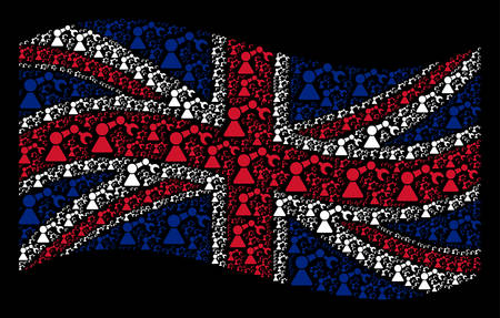 Waving British official flag on a black background. Vector robotics manipulator pictograms are arranged into mosaic UK flag illustration. Patriotic collage created of robotics manipulator icons. Banque d'images - 102906416