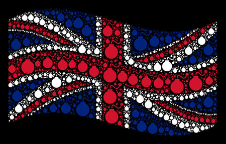 Waving British state flag on a black background. Vector bomb icons are united into conceptual English flag composition. Patriotic illustration designed of bomb pictograms.