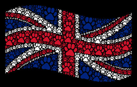 Waving English flag on a black background. Vector paw footprint design elements are formed into geometric British flag composition. Patriotic illustration created of paw footprint icons.