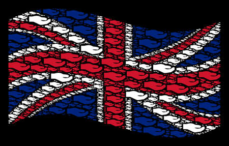 Waving Great Britain flag on a black background. Vector share hand icons are placed into geometric Great Britain flag abstraction. Patriotic illustration made of share hand design elements.