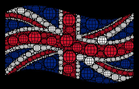 Waving British flag on a black background. Vector globe design elements are formed into conceptual Great Britain flag illustration. Patriotic illustration made of globe design elements.
