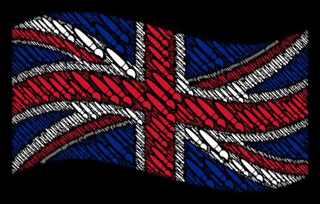 Waving Great Britain state flag on a black background. Vector brush icons are formed into geometric Great Britain flag illustration. Patriotic illustration done of brush icons. Illustration