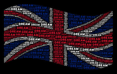 Waving UK official flag on a black background. Vector dream word design elements are arranged into geometric Great Britain flag composition. Patriotic collage created of dream words. Illustration