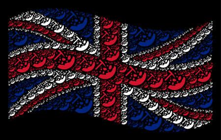 Waving English flag on a black background. Vector rocks mining design elements are scattered into geometric UK flag illustration. Patriotic collage designed of rocks mining elements.  イラスト・ベクター素材