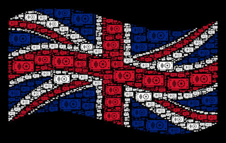 Waving British official flag on a black background. Vector video GPU card design elements are scattered into geometric British flag composition.