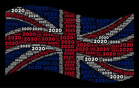 Waving United Kingdom state flag on a black background. Vector 2020 year text items are formed into conceptual British flag abstraction. Patriotic concept done of 2020 year text elements.