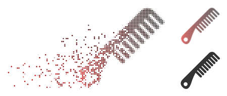 Vector comb icon in dissolved, pixelated halftone and undamaged whole variants. Disappearing effect involves square sparks and horizontal gradient from red to black.