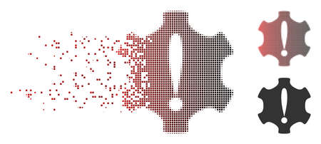 Vector danger icon in fractured, pixelated halftone and undamaged whole variants. Disintegration effect involves rectangle scintillas and horizontal gradient from red to black.