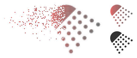 Vector spray tool icon in dissolved, pixelated halftone and undamaged solid versions. Disintegration effect involves rectangular dots and horizontal gradient from red to black. Illustration