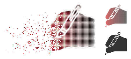 Vector writing hand icon in sparkle, pixelated halftone and undamaged solid variants. Disintegration effect involves rectangle sparks and horizontal gradient from red to black. Illustration