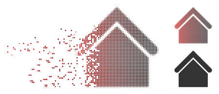 Vector base building icon in dispersed, dotted halftone and undamaged entire variants. Disintegration effect involves square scintillas and horizontal gradient from red to black.