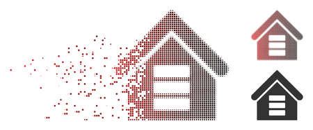 Vector data center building icon in dispersed, pixelated halftone and undamaged whole variants. Disintegration effect involves square particles and horizontal gradient from red to black.