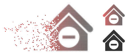Vector deduct building icon in dissolved, pixelated halftone and undamaged whole versions. Disintegration effect uses rectangular dots and horizontal gradient from red to black.