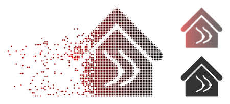 Vector erotics house icon in fractured, dotted halftone and undamaged solid versions. Disintegration effect involves square scintillas and horizontal gradient from red to black. Vectores